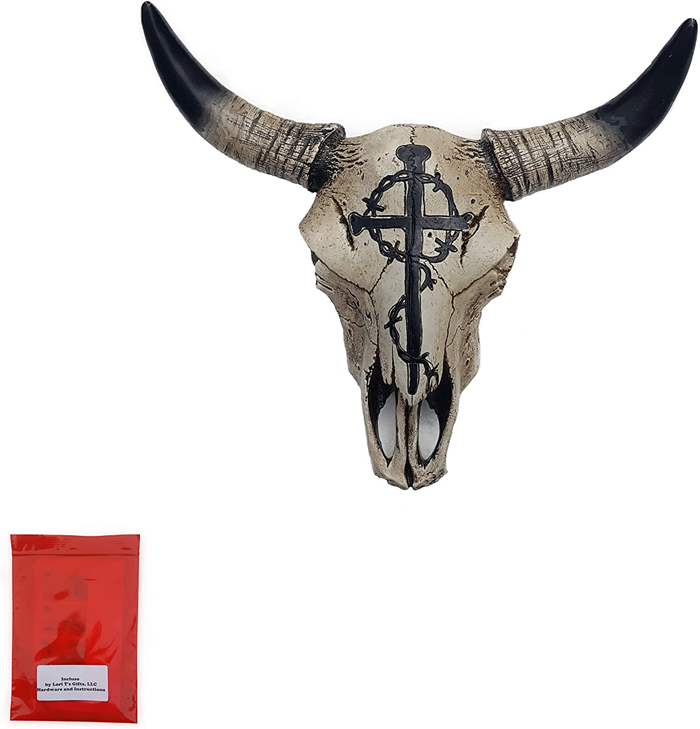 Incluso Cow Skull Wall Hanging with Painted Nail Cross with Thorns and Mounting Hardware Bundle