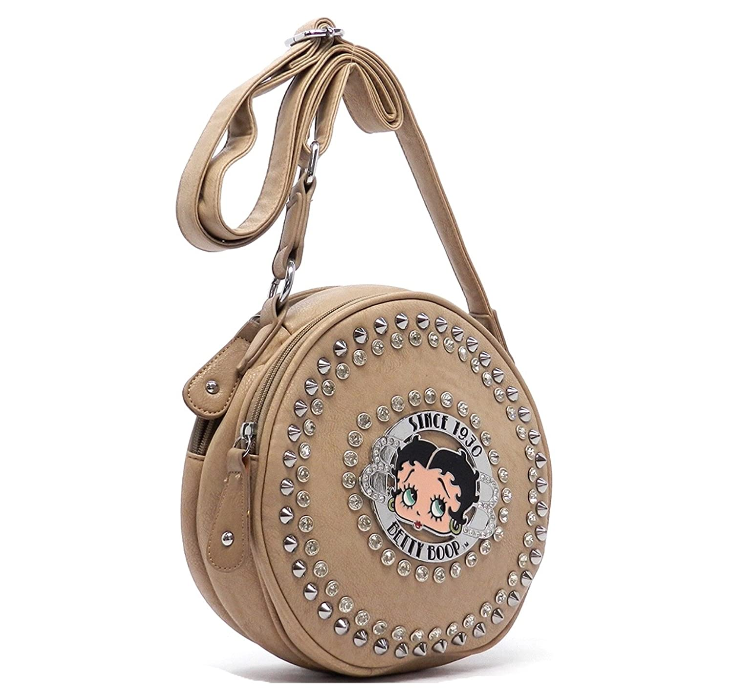 Oyster Beige Betty Boop Messenger Bag with Pom Keychain Holder