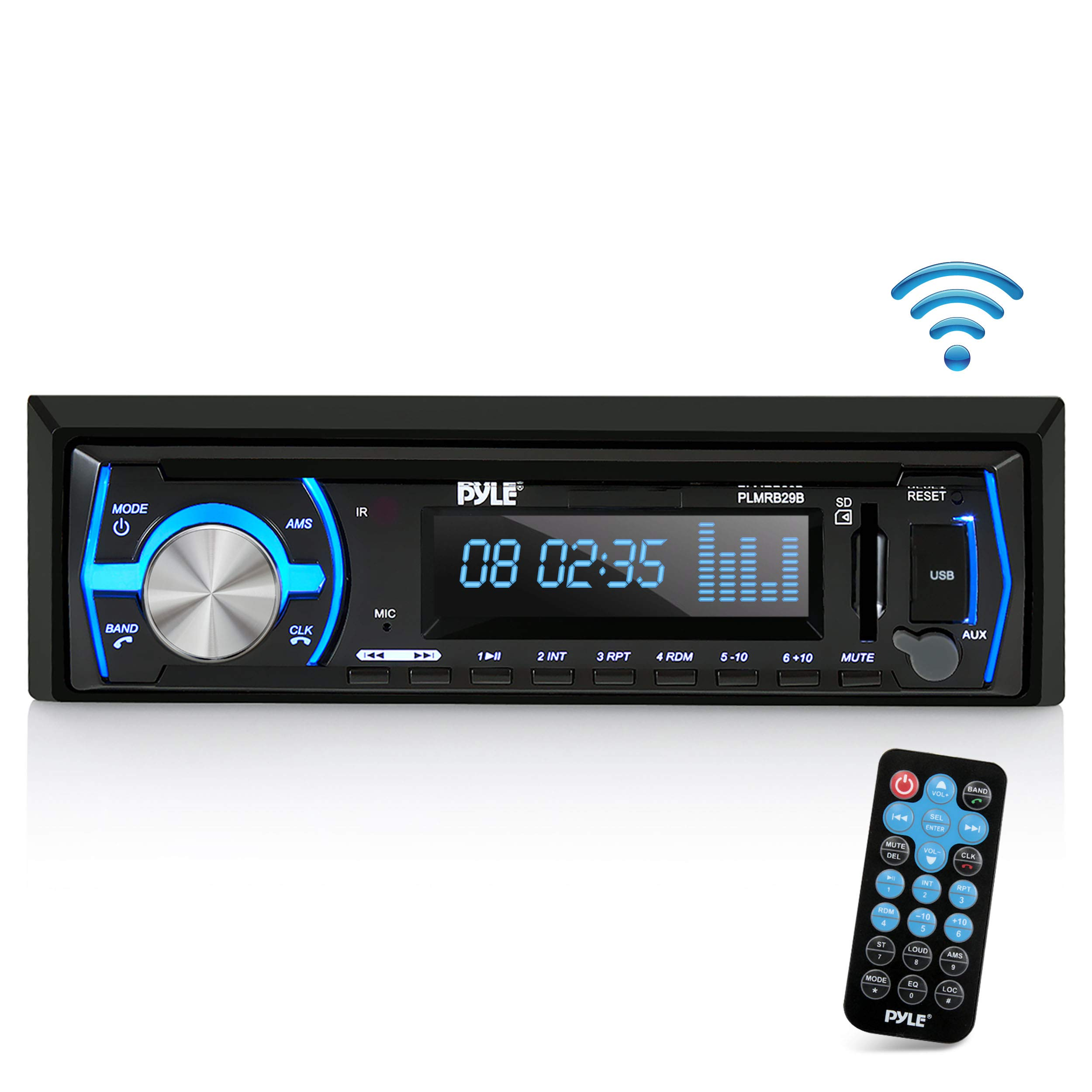 Pyle Marine Bluetooth Stereo Radio - 12v Single DIN Style Boat in Dash Radio Receiver System with Built-in Mic, Digital LCD, RCA, MP3, USB, SD, AM FM Radio - Remote Control - PLMRB29B (Black) by Pyle