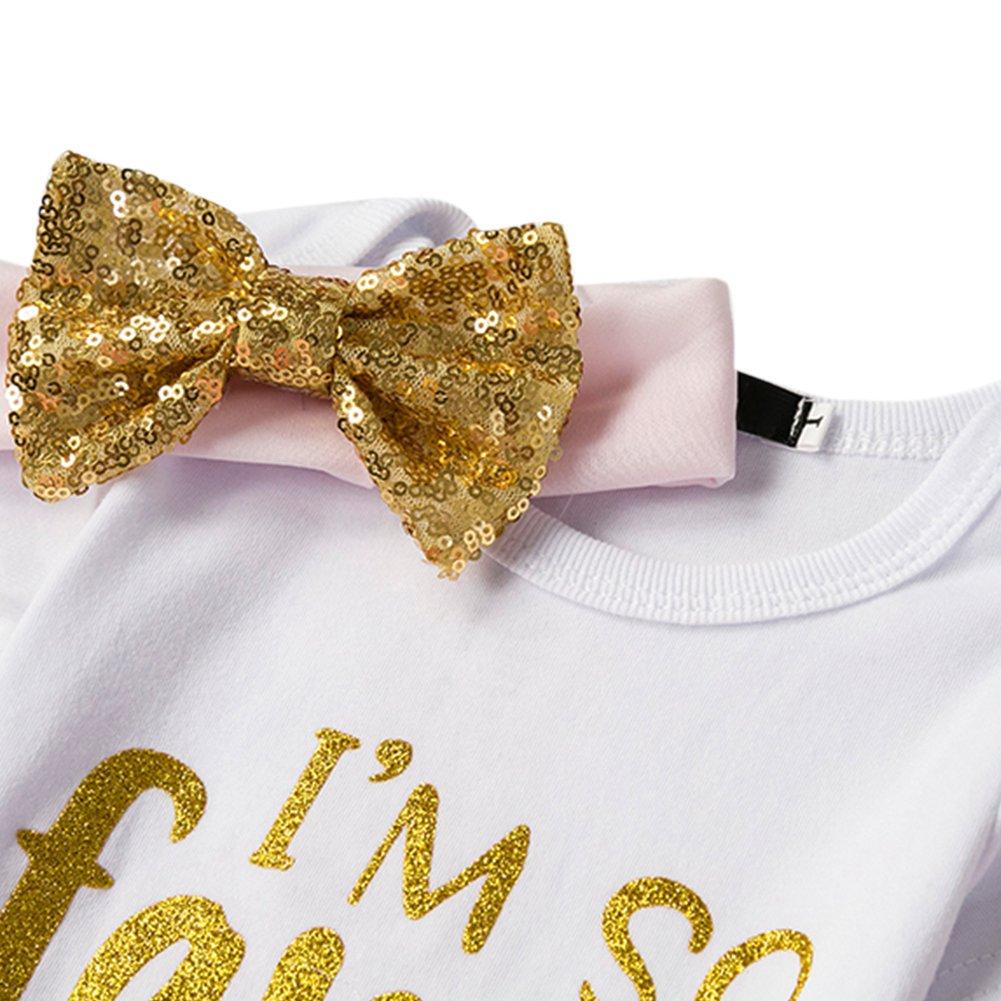 2nd Birthday Cake Smash Romper Tutu Skirt Headband Leggings 4 Pcs Outfits FYMNSI Newborn Baby Girls Its My 1st