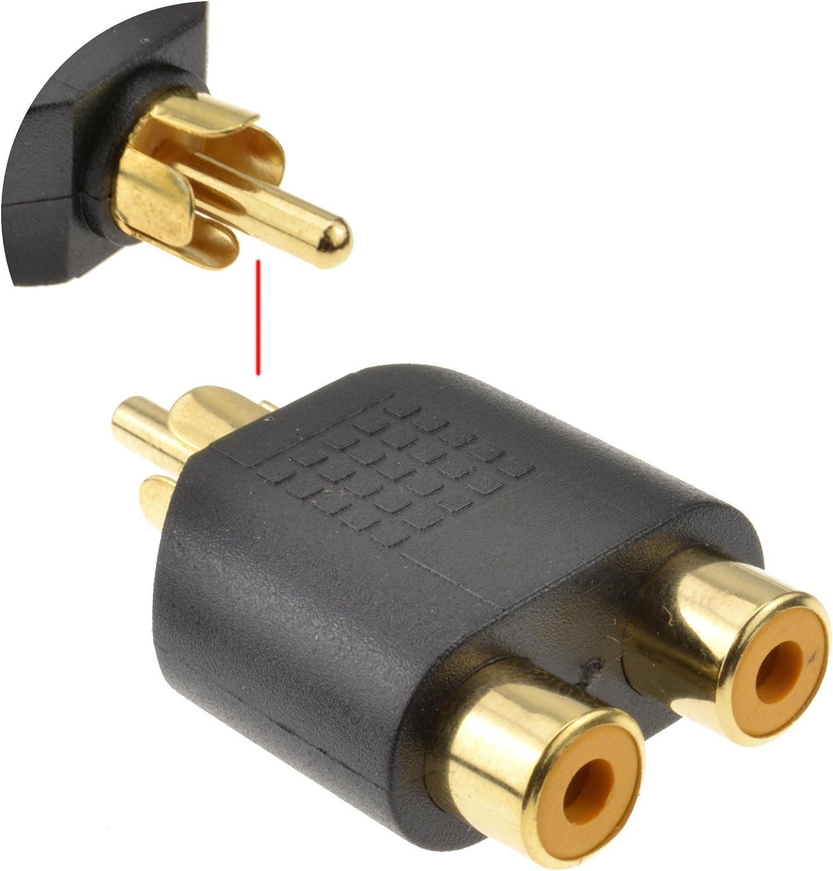 2 Kupfer Cinch Kupplung Splitter Y Adapter Chinch Kabel RCA Cinchstecker