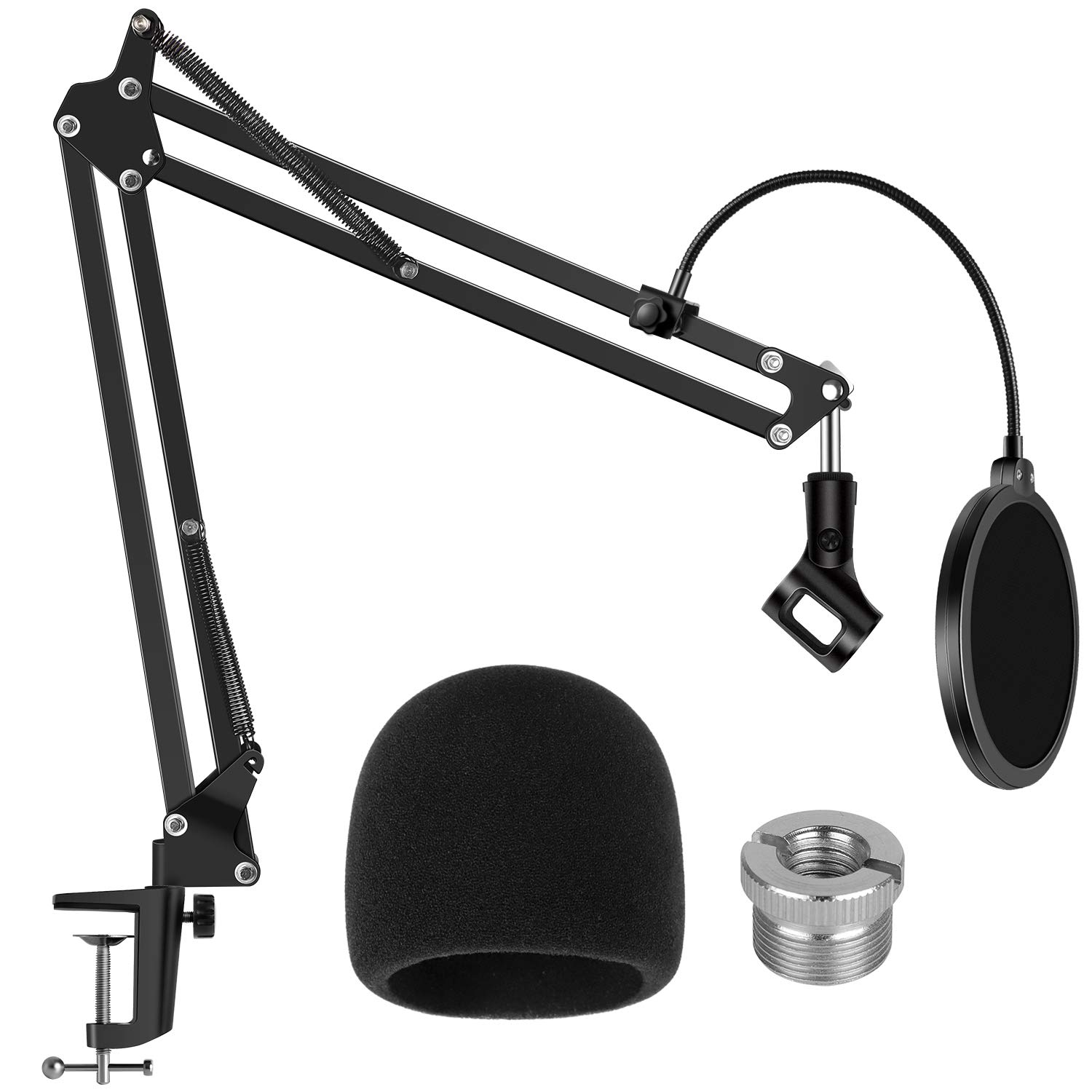 InnoGear Mic Stand for Blue Yeti, Heavy Duty Microphone Stand with Microphone Windscreen and Dual Layered Mic Pop Filter Suspension Boom Scissor Arm Stands for Blue Spark and Other Mics