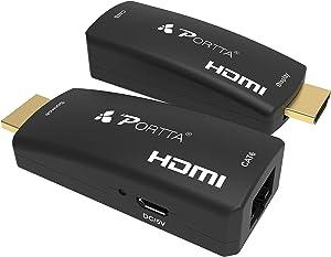 Portta HDMI Extender Extensor 50m(164ft) sobre un Solo Cable UTP RJ45 CAT6   Transmisión sin pérdida   Full HD 3D 1080p   Micro USB Alimentado   No se Necesita Cable HDMI Adicional   Enchufe y Jugar