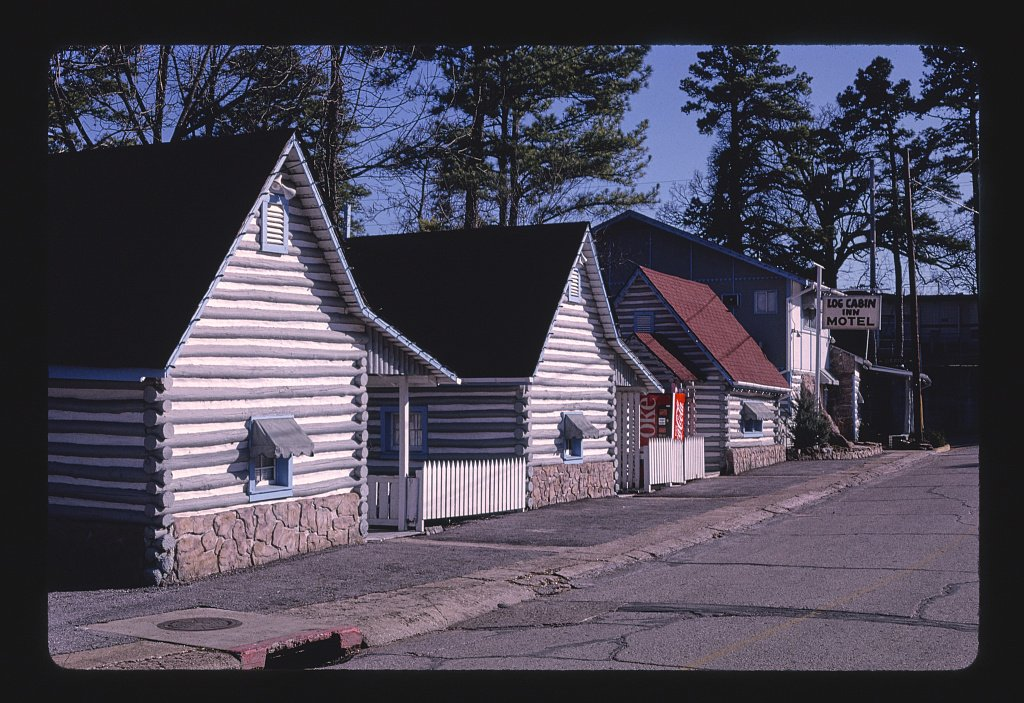 16 x 24 Gallery Wrapped Framed Art Canvas Print of Log Cabin Inn Motel, Eureka Springs, Arkansas 1994 Roadside Americana Ready to Hang 29a