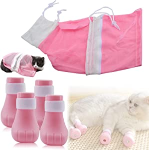 ROLLMOSS Cat Bathing Bag and 4 Pcs Anti-Scratch Cat Booties, Cat Shower Bag and Cat Bag for Bathing, Silicone Adjustable Nail Cover Precaution Scratch Gloves Cat Paw Protector for Home Bathing (Pink)
