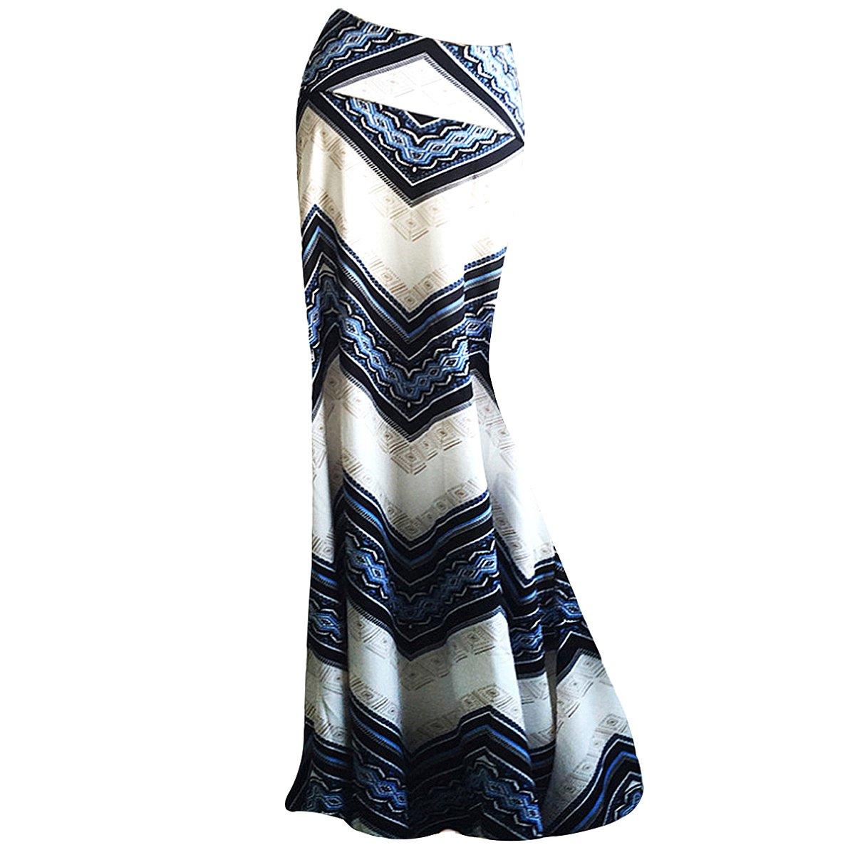 Editha Women Floral Print Maxi Long Skirt High Waist Floor Length Skirt Full Skirt Summer Beach Skirts 103 Blue Ripple XL