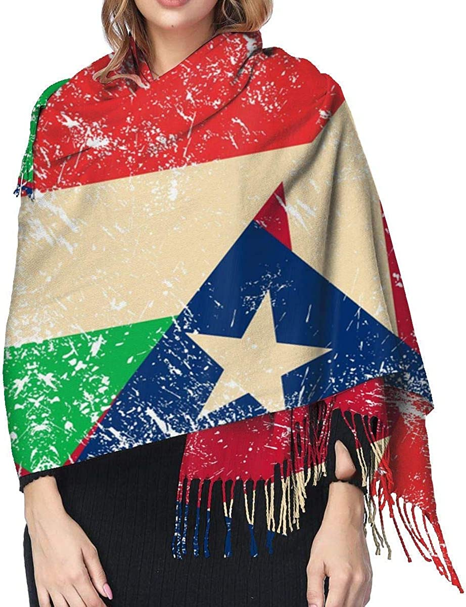 Italy and Puerto Rico Retro Flag Cashmere Scarf Shawl Wraps Super Soft Warm Tassel Scarves For Women Office Worker Travel