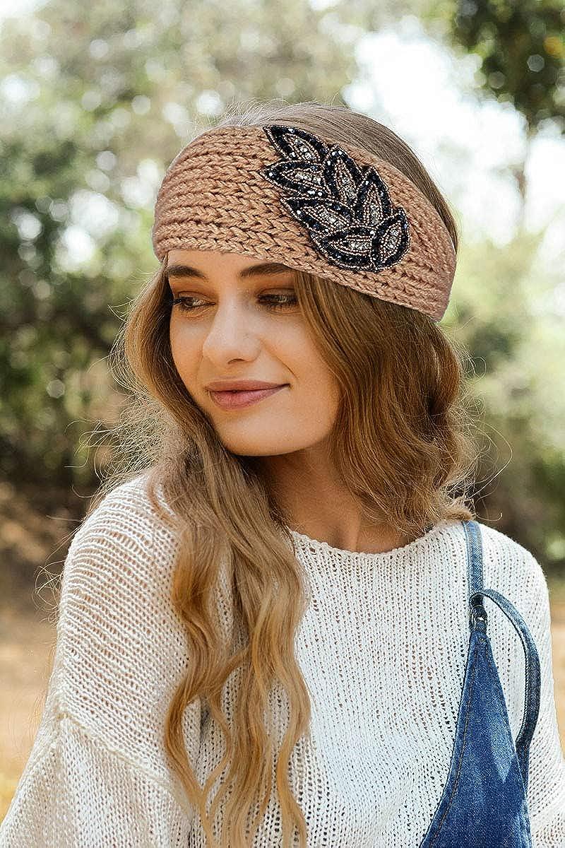 3 Pack caliente de invierno de punto para Mujer de Croché de Punto para Diadema Turbante Oído Caliente