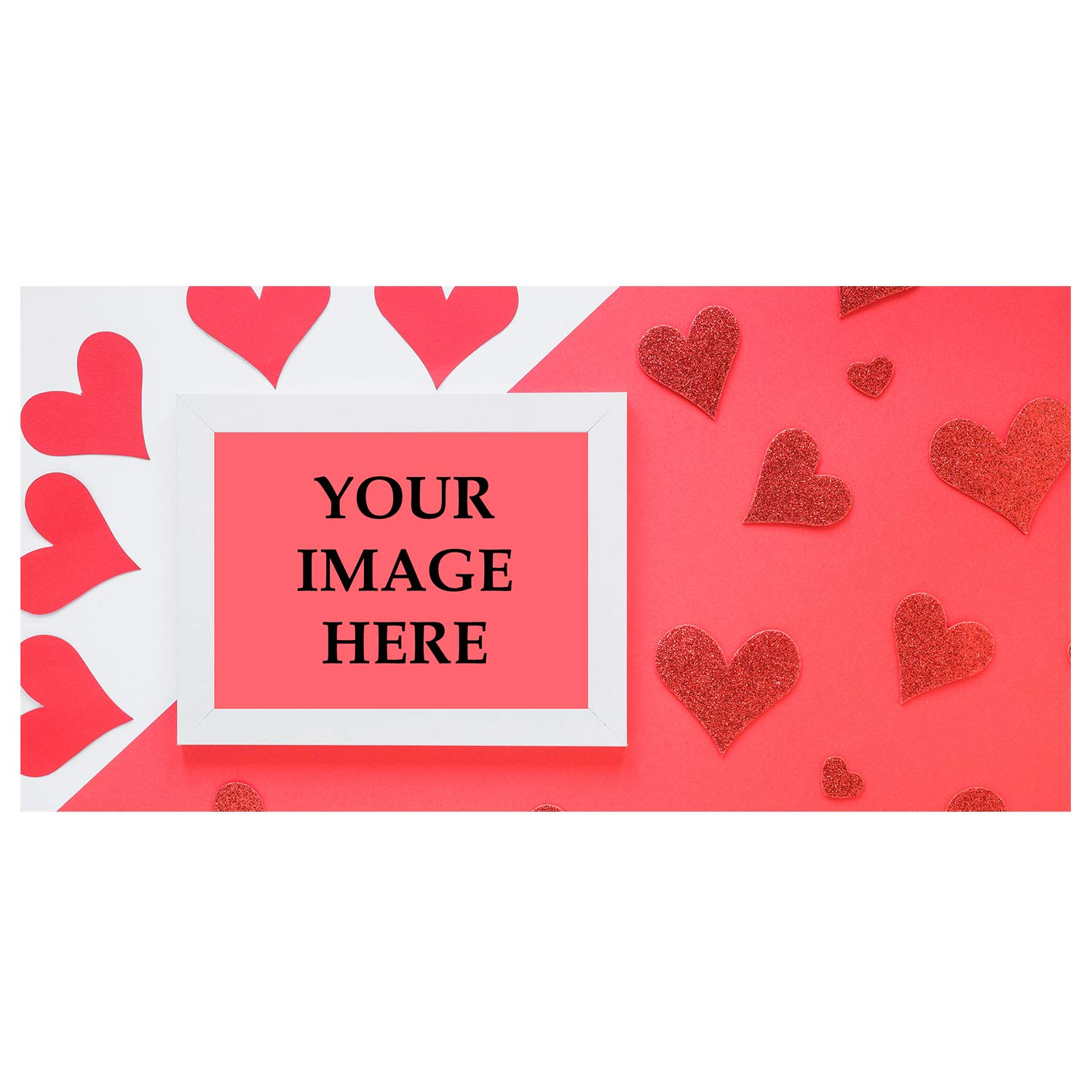 BANNER BUZZ MAKE IT VISIBLE Custom Magnetic Picture Red Hearts Pocket Frame, Self-Adhesive Pocket Photo Magnets for Refrigerator, Valentine Day Gifts & More (12'' X 24'')