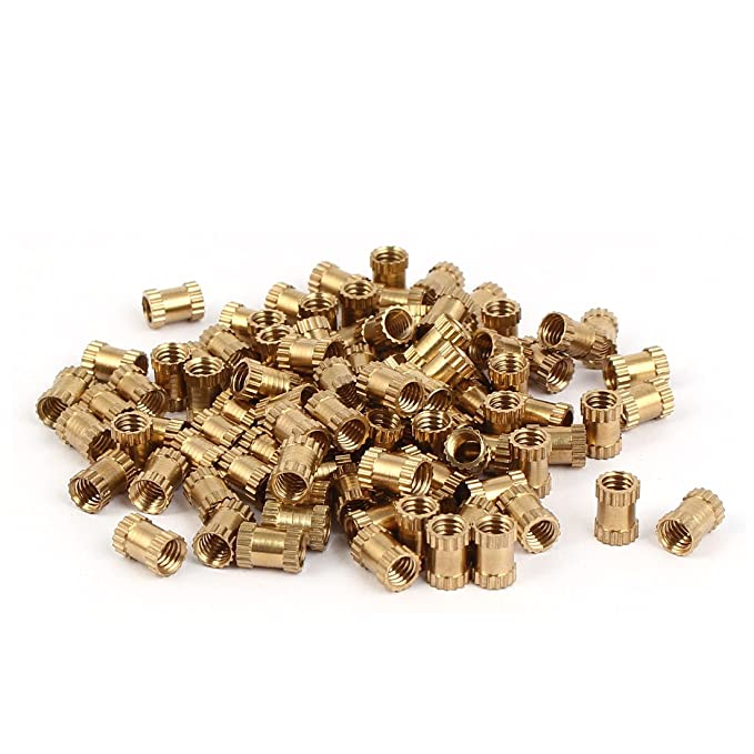uxcell M4 x 5mm x 5.3mm Brass Cylinder Knurled Threaded Insert Embedded Nuts 500PCS