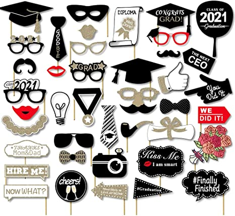 Topfunyy Graduation Party Photo Booth Props 21 pcs Class of 2021 Grad Selfie Props for Graduation Party Supplies