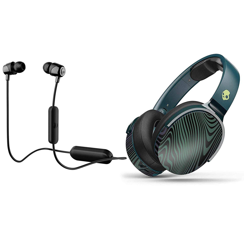 Skullcandy HESH 3 Noise Canceling Over-Ear Wireless Bluetooth Headphone Bundle with Skullcandy Jib Bluetooth Wireless in Ear Earbuds – Psycho Tropical, Black