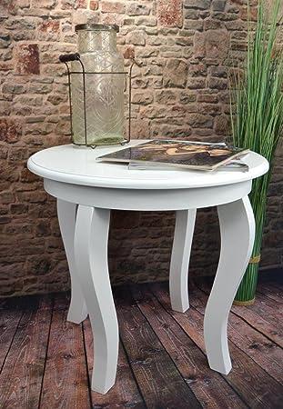 Livitat Beistelltisch Couchtisch Tisch Rund ø50 Cm Landhaus Weiß