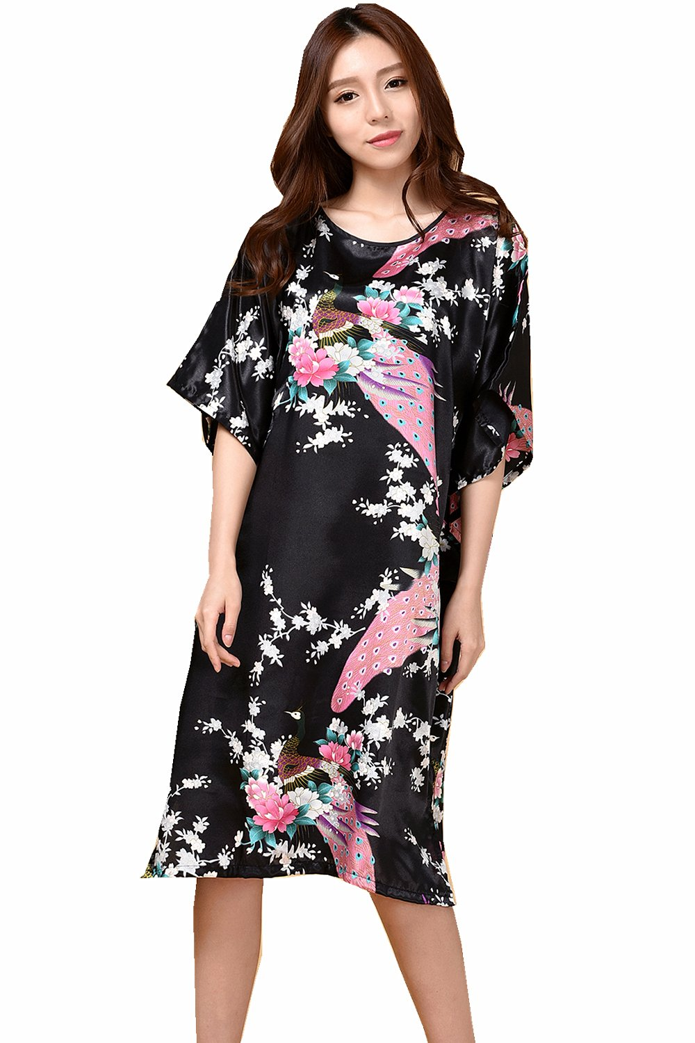 GAOLIGUO GL&G Animal pattern lady silk bathrobe thin section pajamas printing single skirt loose large yards home service comfortable black bathrobes,black,One size by GAOLIGUO (Image #3)