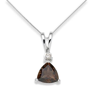 Miore smoky quartz necklace 9ct white gold diamond and smoky miore smoky quartz necklace 9ct white gold diamond and smoky quartz pendant 45cm aloadofball Image collections