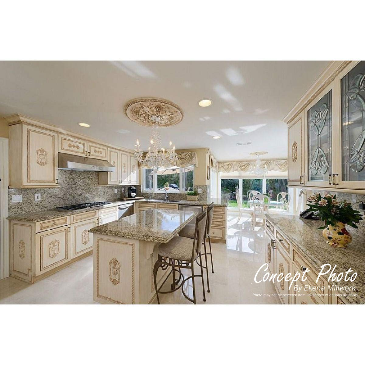 Fits Canopies up to 1 1//2 Factory Primed White Two Piece Ekena Millwork CM29X38CA2-01500 29 H x 38 1//8 W ID x 1 3//4 P Cathedral Ceiling Medallion Two Piece Fits Canopies up to 1 1//2
