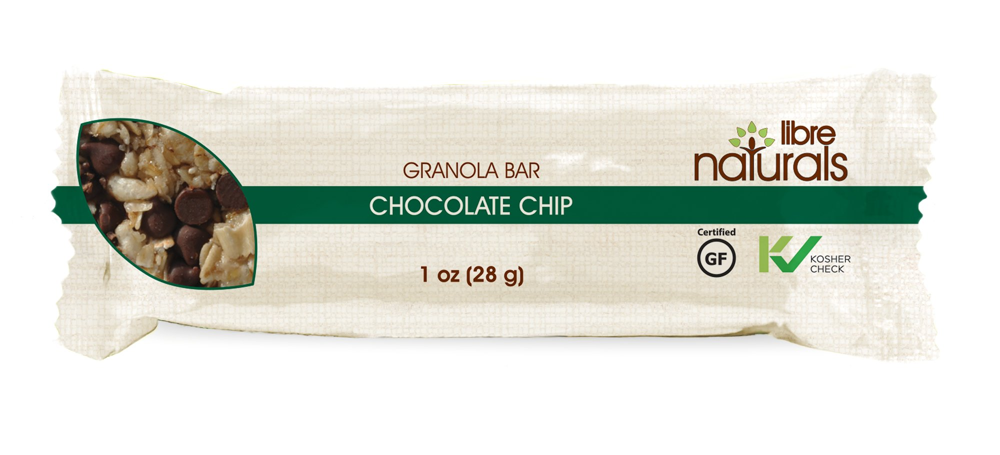 Nut Free, Gluten Free >> Chocolate Chip Vegan Granola Bar - Libre Naturals, 28 gram, 100 Bar Bulk Case