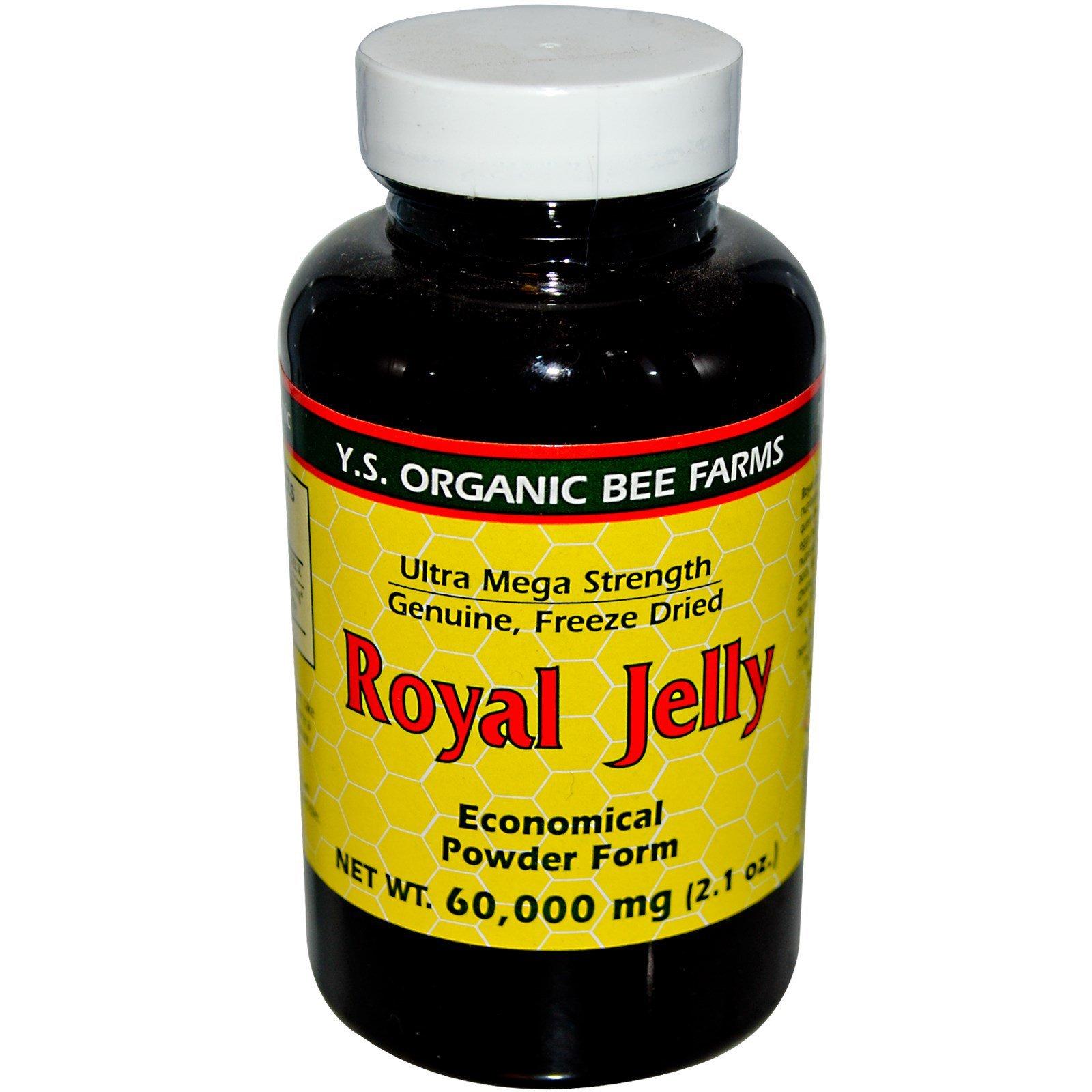 100% Pure Freeze Dried Fresh Royal Jelly - 60,000 mg YS Eco Bee Farms 2.1 oz Pow by YS Eco Bee Farms