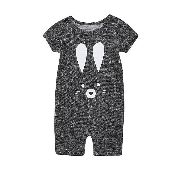 QinMM Mono de Conejo para Bebé Niño y Niña, Camisa Manga Cortos Verano Body Peleles: Amazon.es: Ropa y accesorios