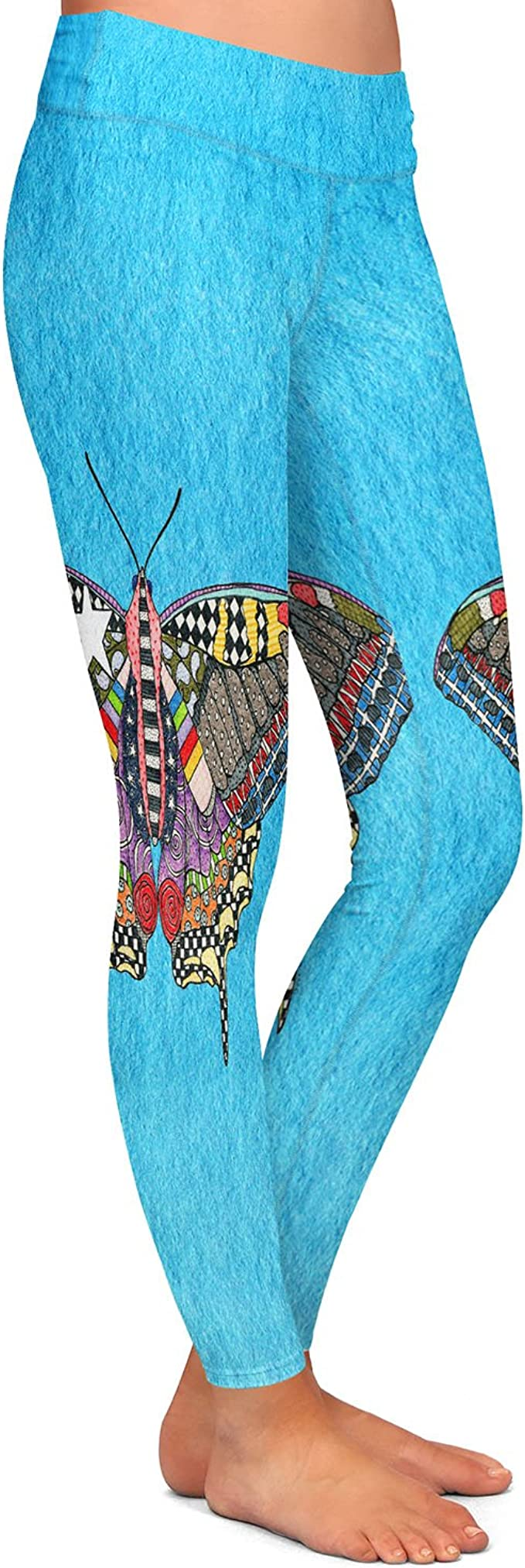 Butterfly White Athletic Yoga Leggings from DiaNoche Designs by Marley Ungaro