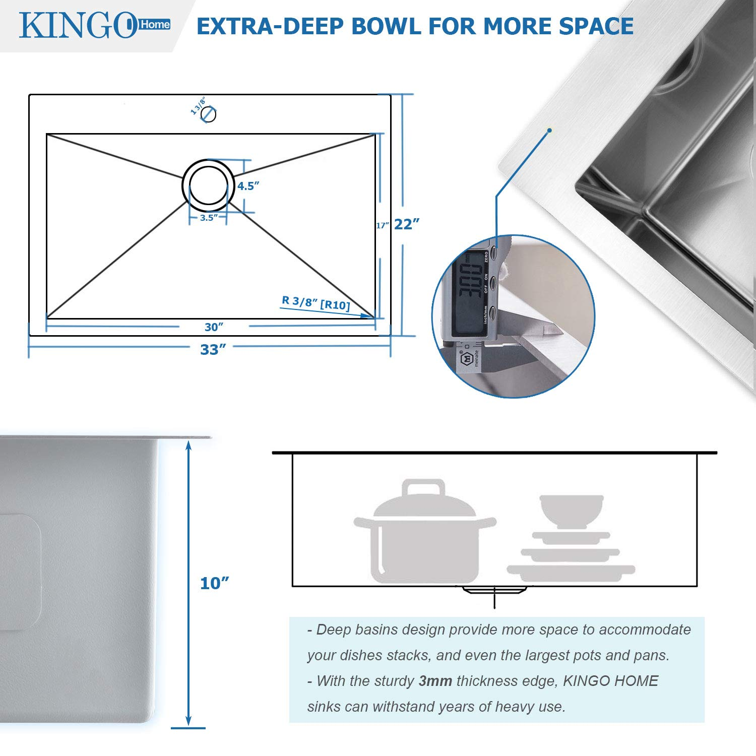 KINGO HOME Commercial 33''x 22'' Inch 10 Inch Extra Deep Handmade Top Mount T304 Stainless Steel Drop-In Single Bowl Kitchen Sink by KINGO HOME (Image #4)