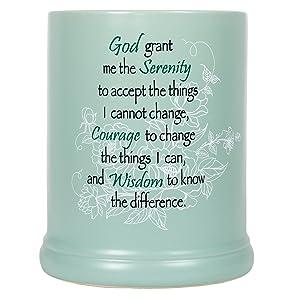 Serenity Prayer Teal White Floral Design Stoneware Electric Large Jar Candle Warmer