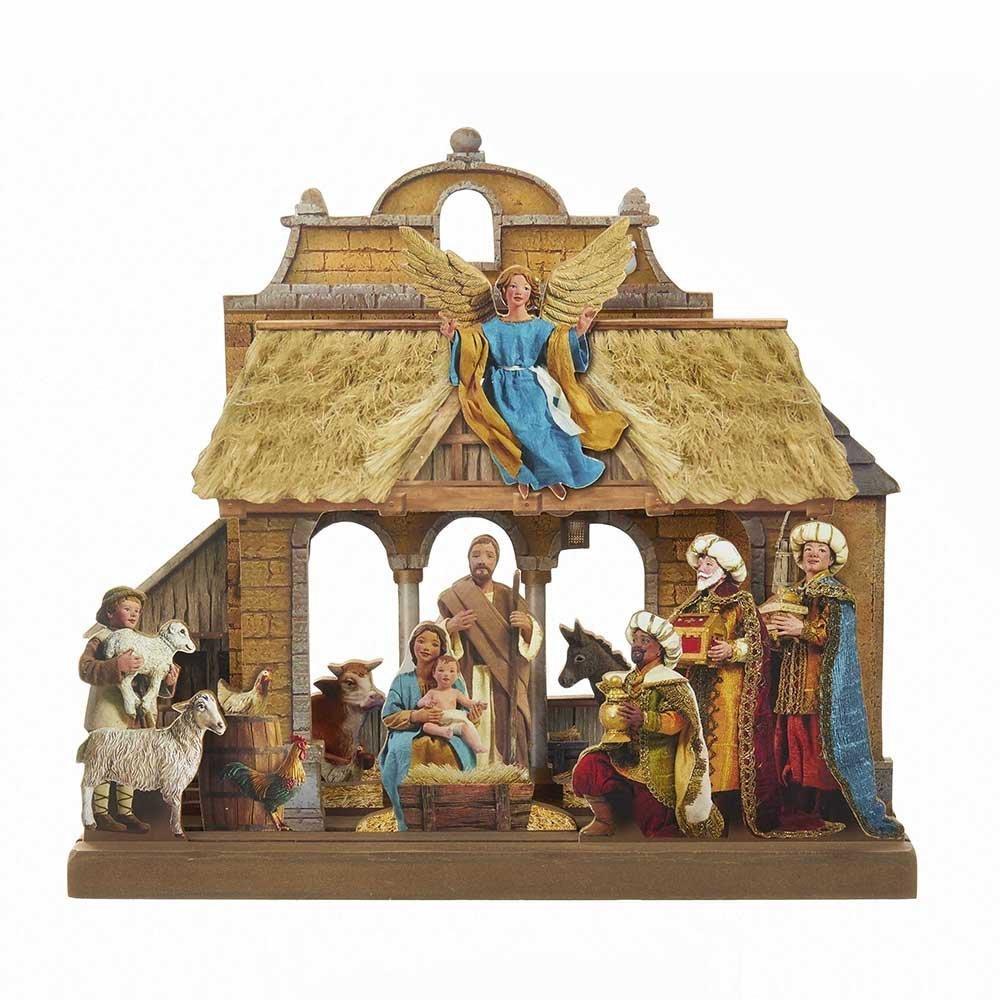 Kurt Adler 10.625-Inch Wooden Nativity Tablepiece Set