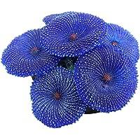 Aquarium Ornament Artificial Silicone Coral Emulational Plants Natural Habitat Decoration for Marine Fish Tank Landscape Blue