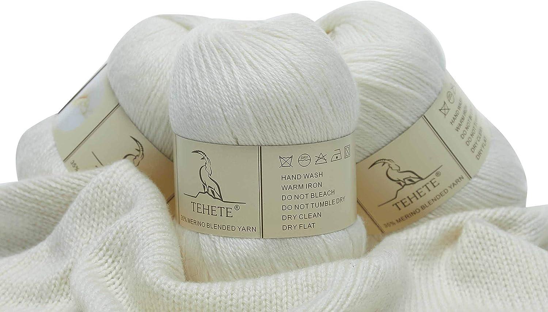 bufanda ganchillo y tejido-Beige 3 Bolas x 50g TEHETE Ovillo de lana diy Hilo para manta,su/éter calcet/ín Hilados lana merino