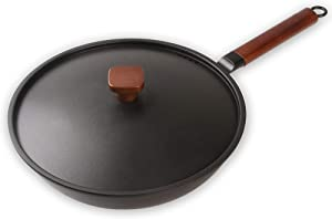 12 Inch Iron Wok With lid , Chinese iron pot with detachable Wooden Handle Suitable forfor Electric, Induction & Gas Stoves, Oven Safe.