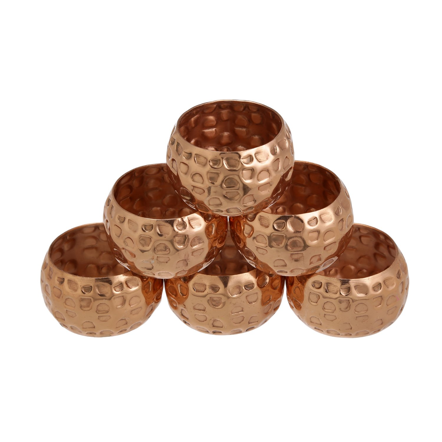 Shalinindia Copper Napkin Rings for Weddings,Dinners, Parties, or Everyday Use, Set of 6,Light Weight 40 Grams,Diameter-1.5 Inch
