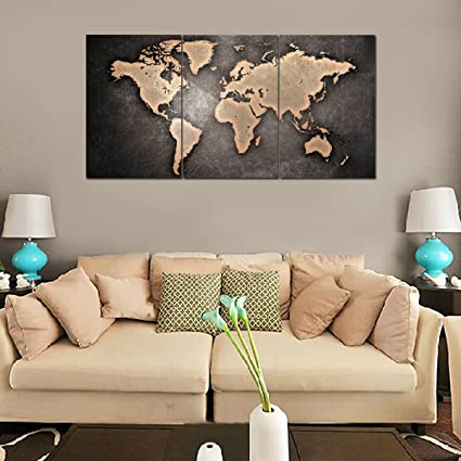 RAIN QUEEN Wood Frames Canvas Print Abstract Grey World Map On Stone - World map canvas grey