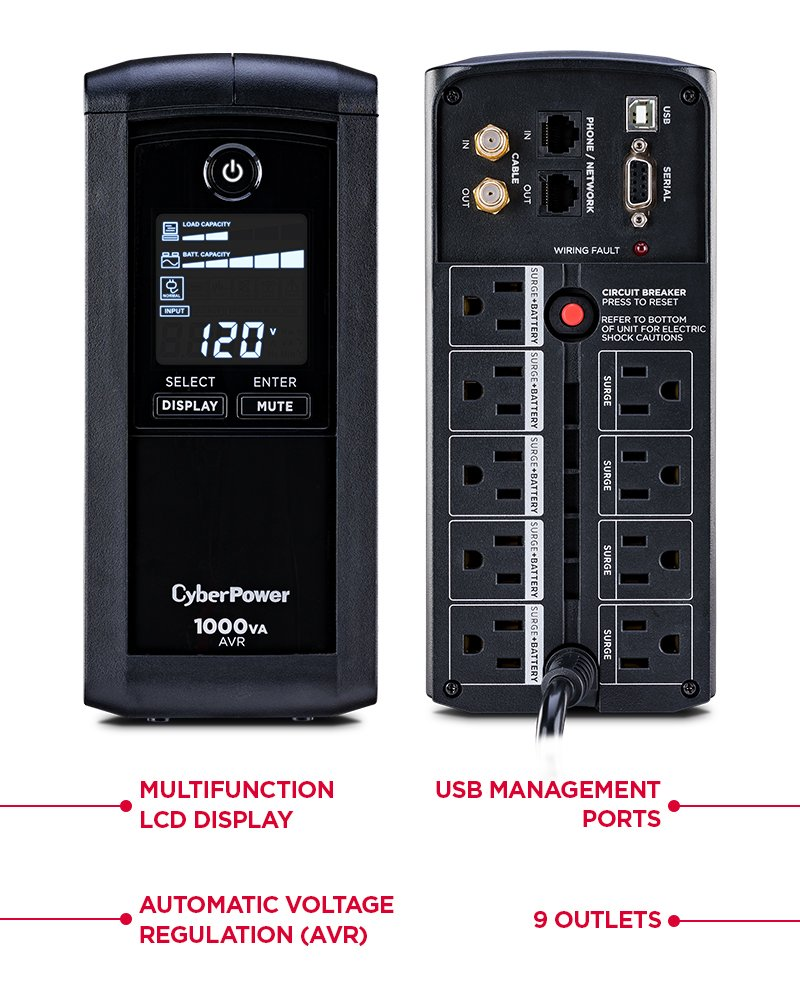 Cyberpower Cp1000avrlcd Intelligent Lcd Ups System Mini Power Electronic Schematic Design 1000va 600w 9 Outlets Avr Tower Home Audio Theater