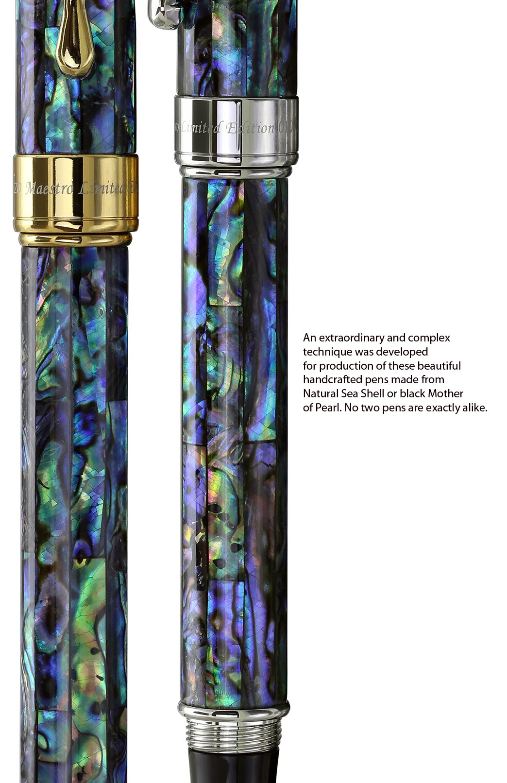 Xezo Maestro Natural Sea Shell Fine Rollerball Pen with 18K Gold Plated Parts Exquisite Gift No Two Pens Alike (Maestro Sea Shell RPG) by Xezo (Image #6)