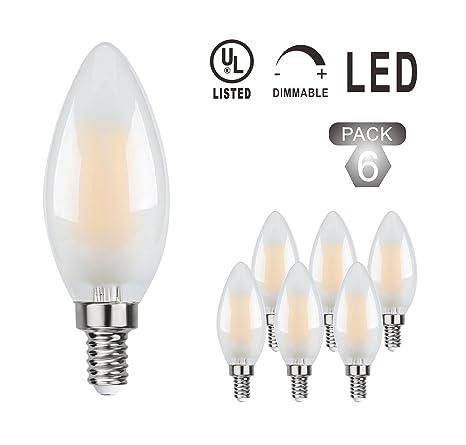 wonderey intensidad regulable bombilla de filamentos LED candelabro cristal mate de C35 4 W equivalente bombillas
