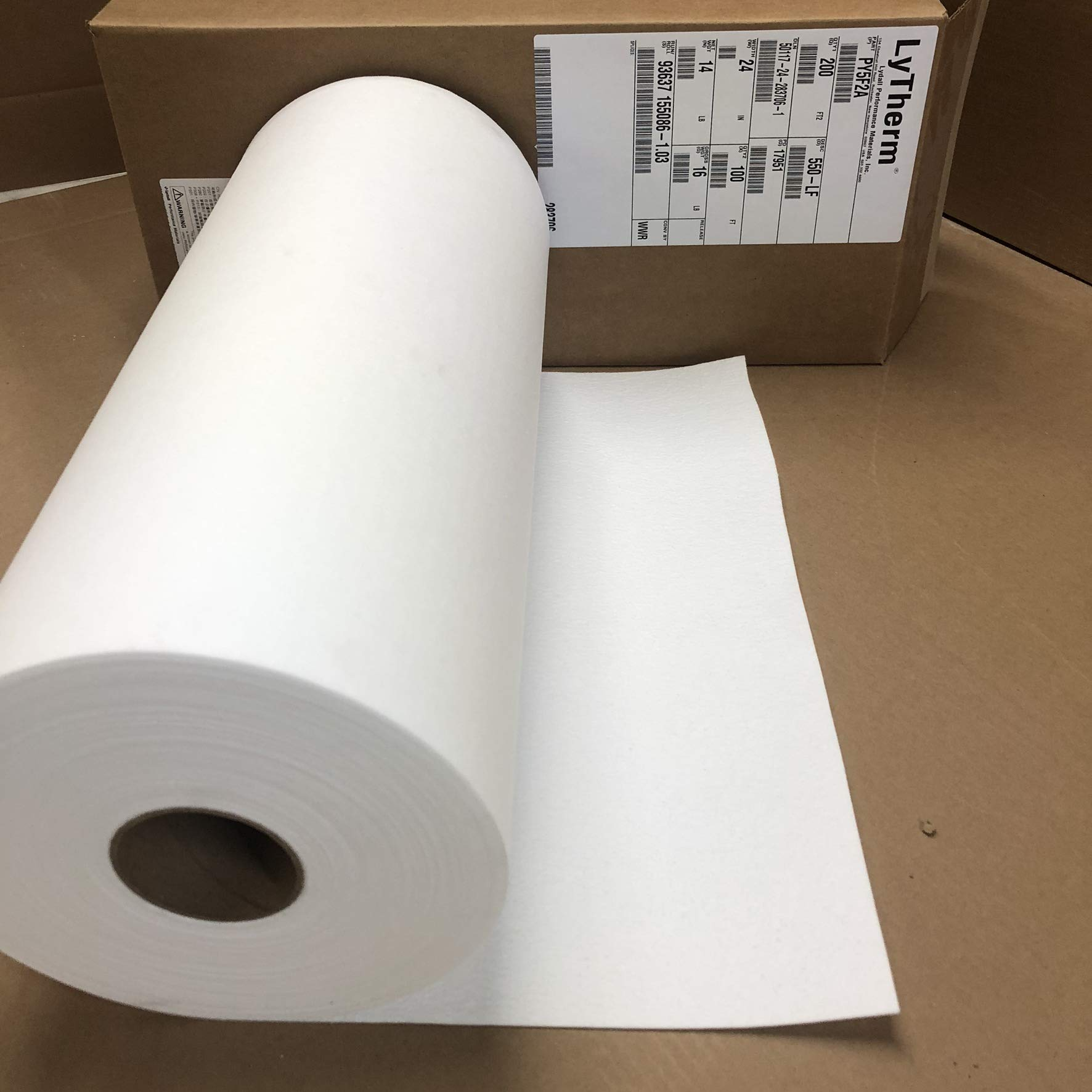Lynn Manufacturing 1/16'' Thick, Lytherm 550-LF Paper, Lydall, 2200F Rated, 24'' Wide, 100 Ft. Long. by Lynn Manufacturing