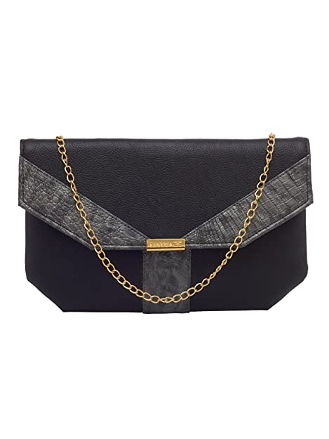 ESBEDA Black Color Solid Pu Synthetic Fabric Clutch For Women ... 795ad00877