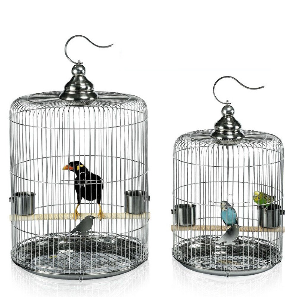 A Diameter 31 height 37cmZXT Bird Cage  Stainless Steel Bird Cage  Starling Thrush Bird Cage  Peony Parred Cage  Round Metal Culture