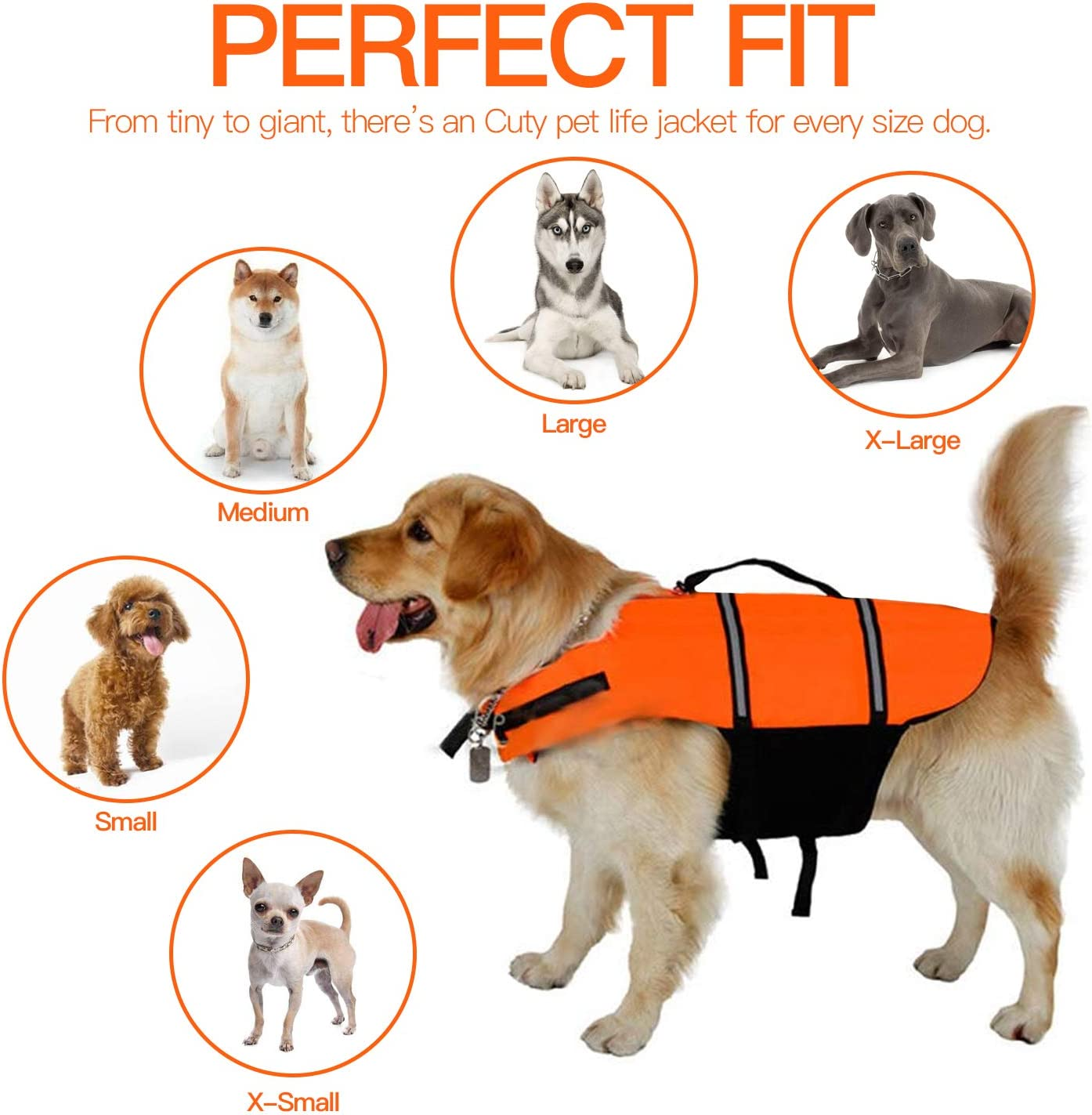 Reflective /& Adjustable Swimsuit Preserver Boating Canoeing Enhanced Buoyancy /& Rescue Handle for Water Safety Ripstop Pet Floatation Vest for Swimming TANDD Dog Life Jacket