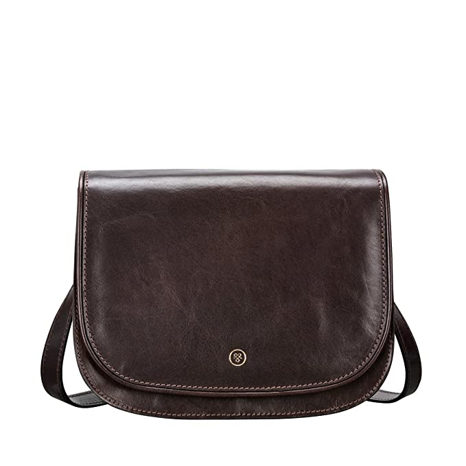 1587a2c1656fb Maxwell-Scott® Dark Brown Leather Womens Saddle Bag (The MedollaM ...