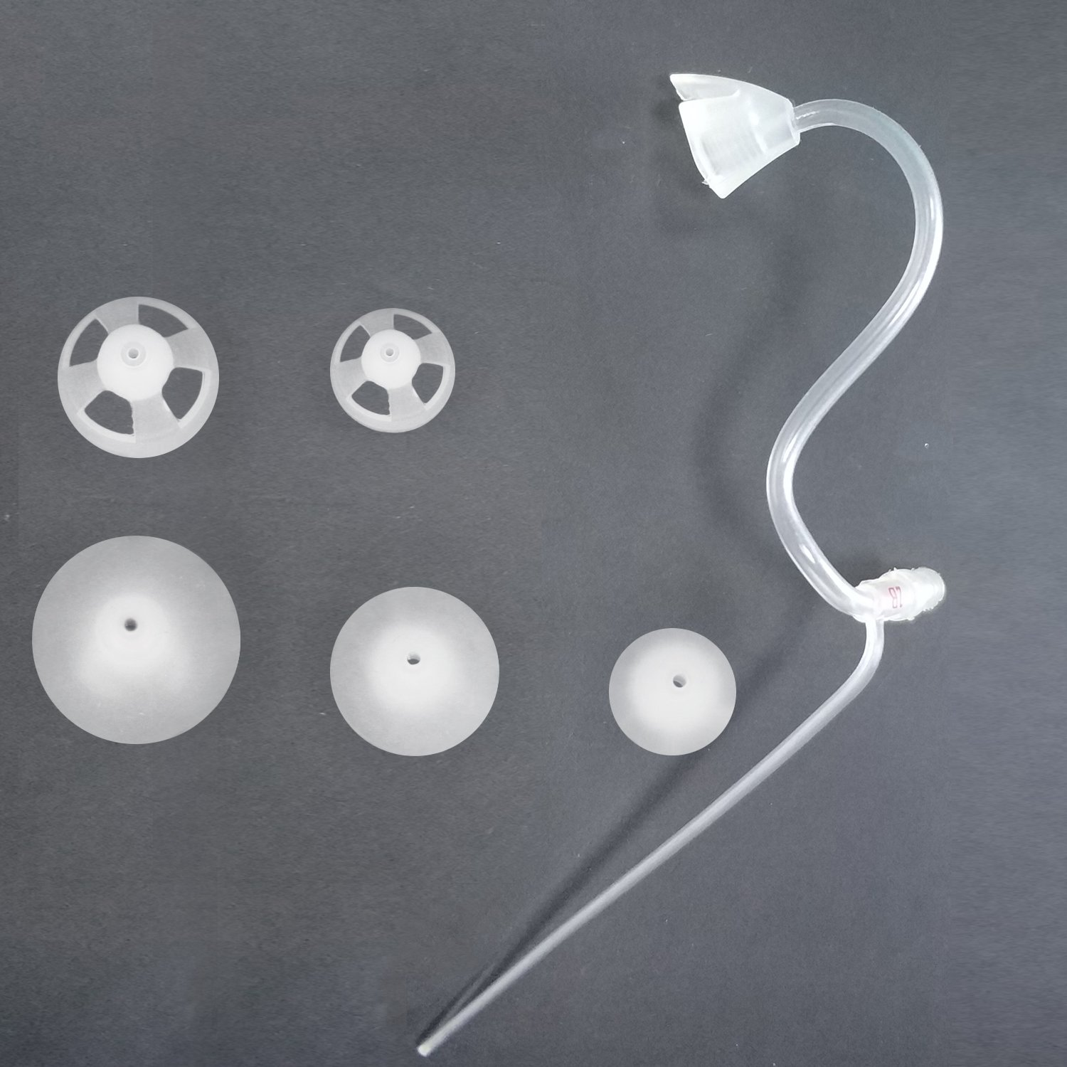 Banglijian Hearing Amplifier Replacement Slim Sound Tubes and Domes for Ziv-201A and Ziv-201 (2 Tubes-Size 2B and 10 Domes, Right)