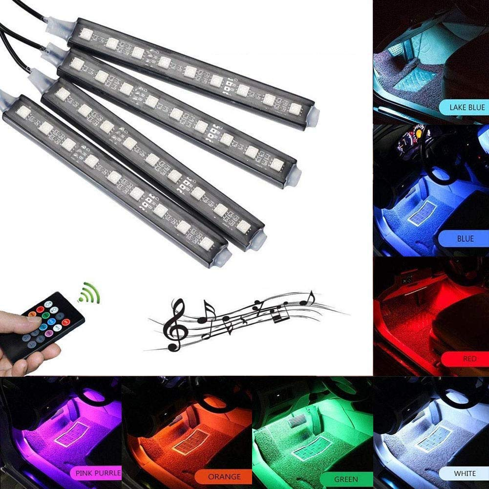 Car Interior Light Led, Lychee 4pcs 36 LED Music Car LED Strip Light Under Dash Lighting Kit Multicolor Floor Lights with Sound Active Function and Wireless Remote Control