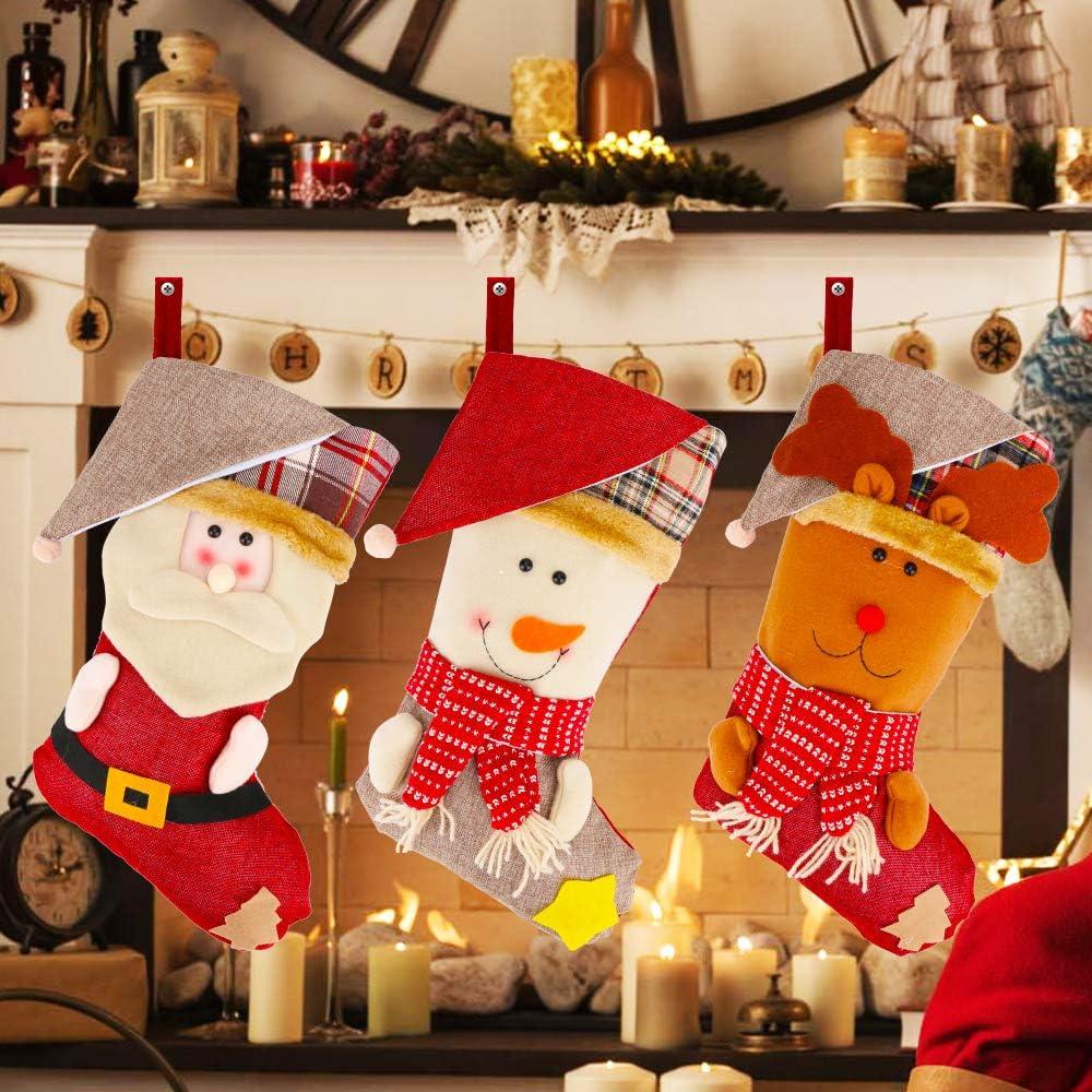 Yashell Christmas Stocking, 3 Pcs Classic Sockings for Xmas Home Decor, Stuffed Christmas Tree Hanging Toys, Santa Snowman Reindeer 3D Plush Character Christmas Decorations Party Supplies