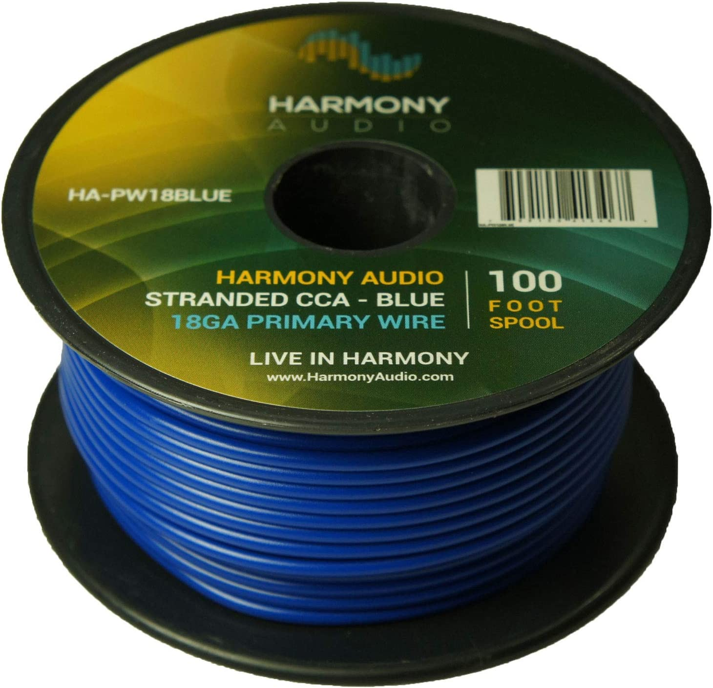 Harmony Audio Primary Single Conductor 18 Gauge Power or Ground Wire - 20 Rolls - 2000 Feet - White & Blue for Car Audio/Trailer/Model Train/Remote