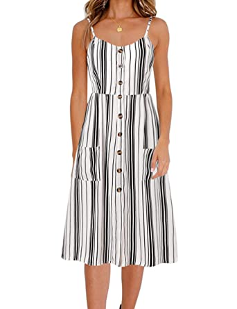 BMJL Home Women Dress Vertical Stripe V-Neck Adjustable Spaghetti Strap  Ruched Button at Front 446e936ae