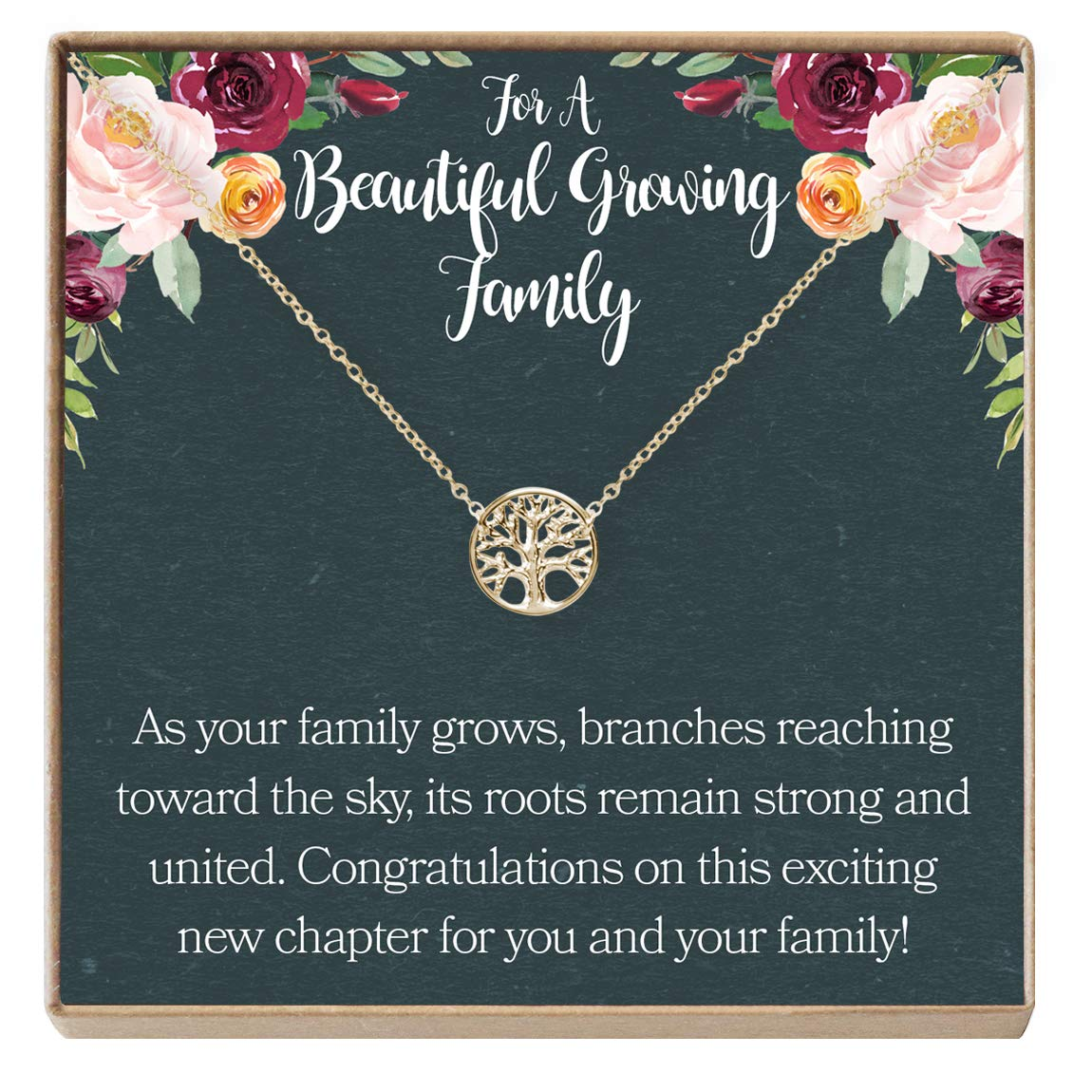 Necklace Expectant Mother Pregnant Friend Dear Ava Pregnancy for Her New Mom Gift Baby Shower Rose-Gold-Plated-Brass NA Tree Tree