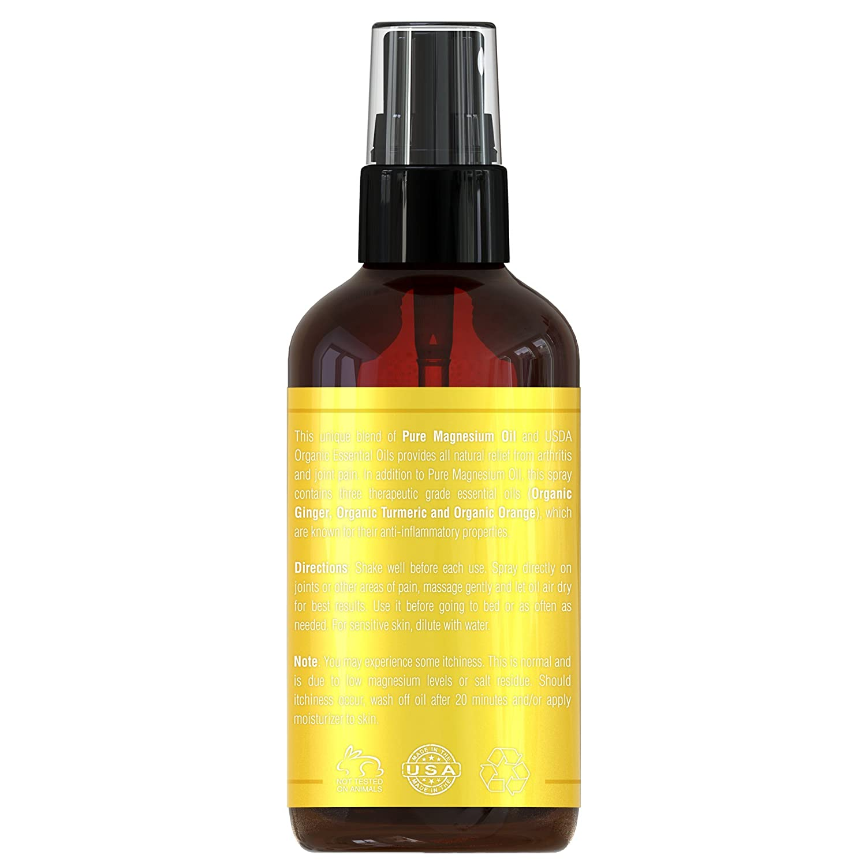 Muñeca Dolor y Artritis Dolores Magnesio Dolor Spray - Fabricado en Estados Unidos con USDA organischem ätherischem kurkuma de, jengibre y orangenöl ...