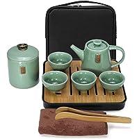 E&A Portable Tea Set Travel Ceramic Porcelain Tea Ware Teapot Canister Teacups Tea Clip Towel Tray