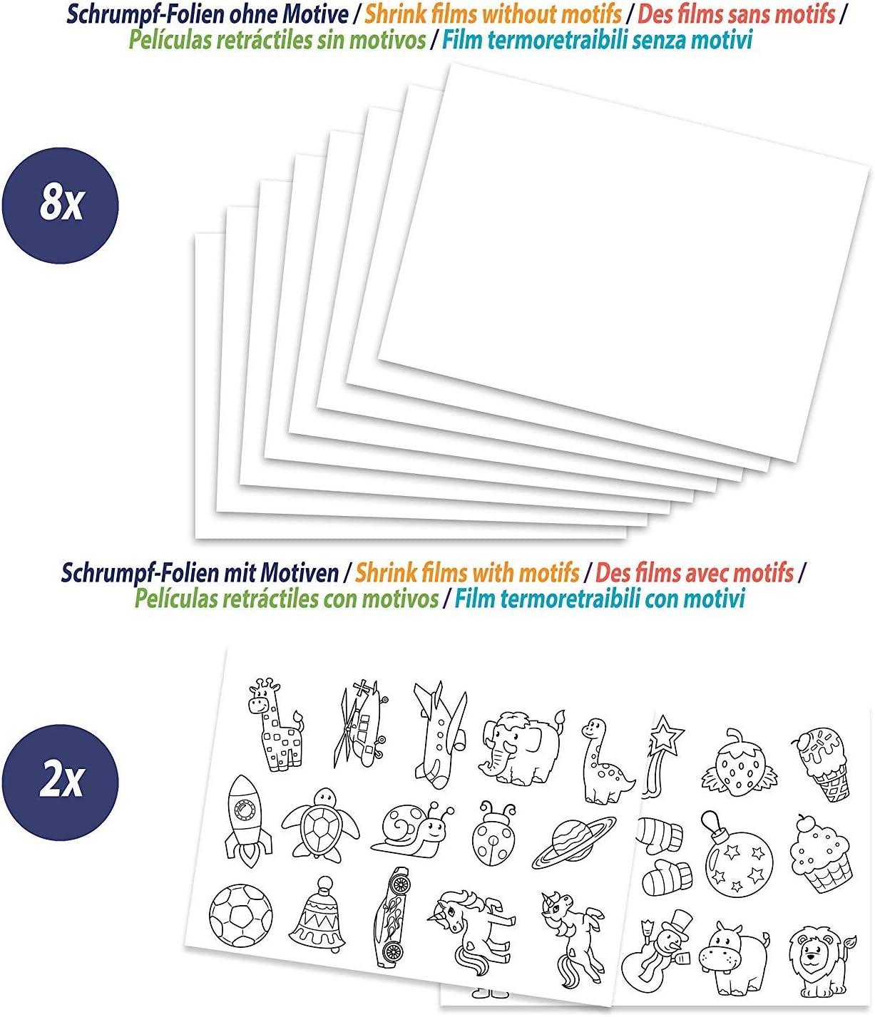 A4 mate transparente con motivos Smowo conjunto pl/ástico m/ágico encogible con llaveros 10 l/áminas de papel m/ágico
