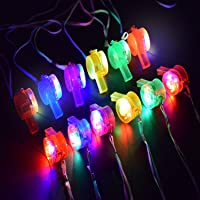 M.best Glow Whistle Necklace Party Supplies - LED Light Up Whistle Necklace Glow in The Dark Party Favors,12 Pack